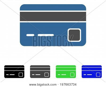Bank Card flat vector icon. Colored bank card gray, black, blue, green icon variants. Flat icon style for web design.