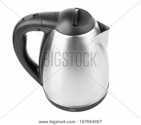 A shiny metal kettle isolated over the white background. An electric black and gray kettle. A new electrical kitchen equipment for preparing meals. Domestic utensil. Household technologies.
