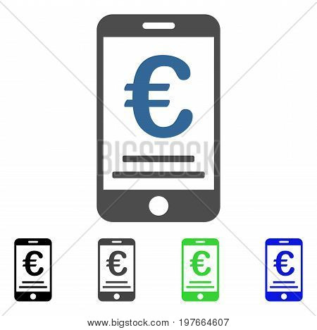 Euro Mobile Payment flat vector icon. Colored euro mobile payment gray, black, blue, green pictogram versions. Flat icon style for application design.