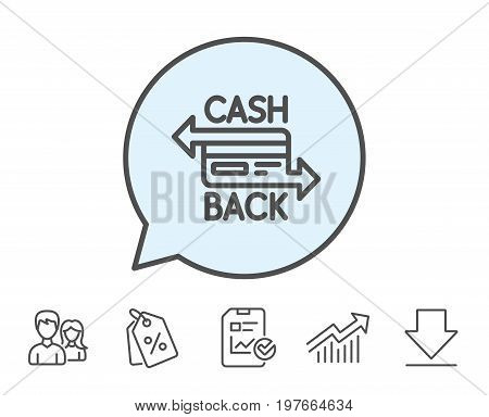 Credit card line icon. Banking Payment card sign. Cashback service symbol. Report, Sale Coupons and Chart line signs. Download, Group icons. Editable stroke. Vector
