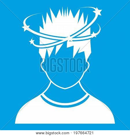 Man with dizziness icon white isolated on blue background vector illustration