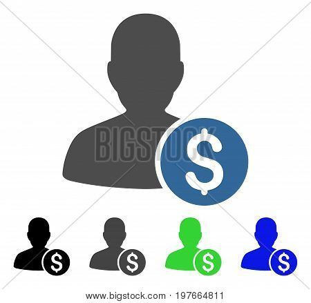 Investor flat vector illustration. Colored investor gray, black, blue, green icon versions. Flat icon style for graphic design.