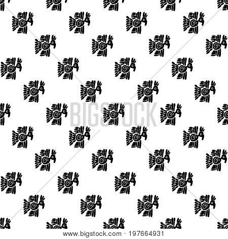 Seamless vector maya pattern. Black and white ethnic elements. Tribal doodles ornament. Abstract ancient symbols birds and faces