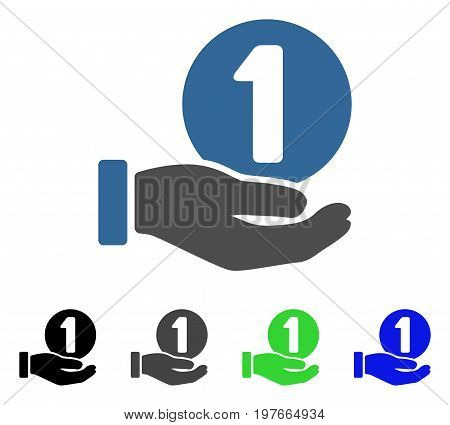 One Coin Payment Hand flat vector icon. Colored one coin payment hand gray, black, blue, green pictogram variants. Flat icon style for application design.