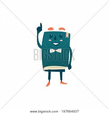Vector cartoon humanized book. Happy , smiling character with arms and face emotions in bowtie points something out. Flat isolated illustration on a white background. Back to school concept