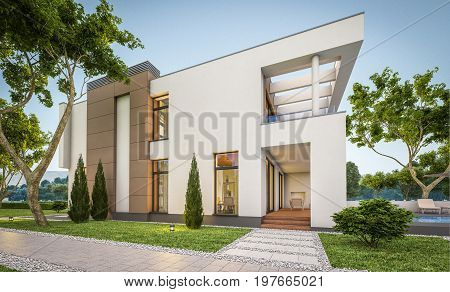 3D Rendering Of Modern House At Evening
