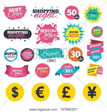 Sale shopping banners. Dollar, Euro, Pound and Yen currency icons. USD, EUR, GBP and JPY money sign symbols. Web badges, splash and stickers. Best offer. Vector
