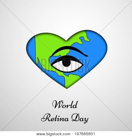 illustration of eye on earth background in heart design with World Retina Day 28th September text on the occasion of World Retina Day