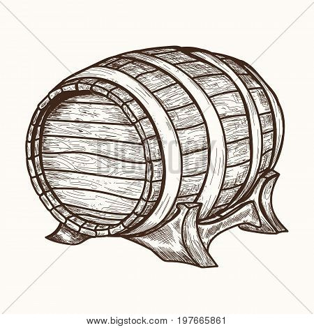 Wooden barrel. Hand drawn retro vintage illustration engraved style. Old wood keg. Barrel for storage of wine beer alcohol