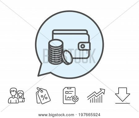 Wallet with Coins line icon. Cash money sign. Payment method symbol. Report, Sale Coupons and Chart line signs. Download, Group icons. Editable stroke. Vector