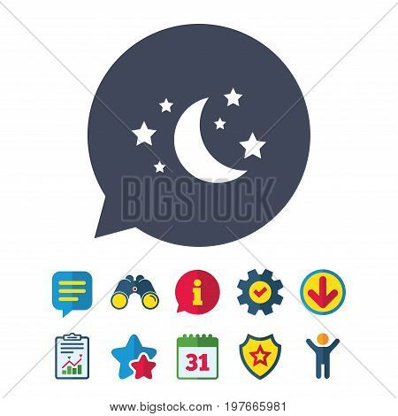 Moon and stars icon. Sleep dreams symbol. Night or bed time sign. Information, Report and Speech bubble signs. Binoculars, Service and Download, Stars icons. Vector