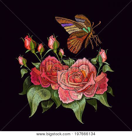Embroidery butterfly and roses. Beautiful butterfly and roses classical embroidery on black background. Template clothes textiles t-shirt design