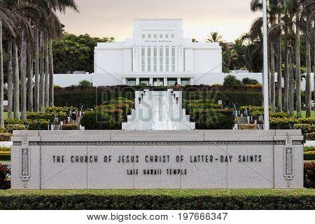 Honolulu Hawaii - May 27 2016: The Church of Jesus Christ of Latter-Day Saints Laie Hawaii Temple located on the northeast shore of the Hawaiian island of Oʻahu.