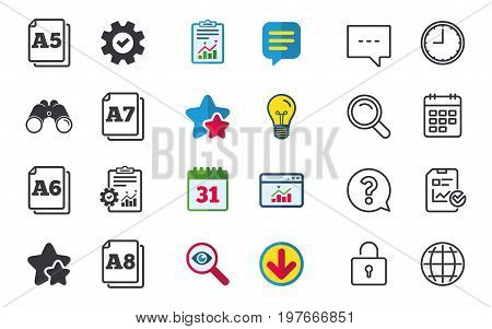 Paper size standard icons. Document symbols. A5, A6, A7 and A8 page signs. Chat, Report and Calendar signs. Stars, Statistics and Download icons. Question, Clock and Globe. Vector