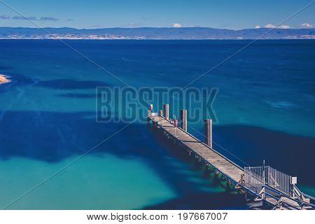 Freycinet Pier By Coles Bay In Tasmania