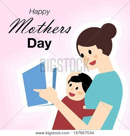 Happy Mother's Day. Mother's day card. All in a single layer. Vector illustration.  Mother and Son with Happy Mothers Day.
