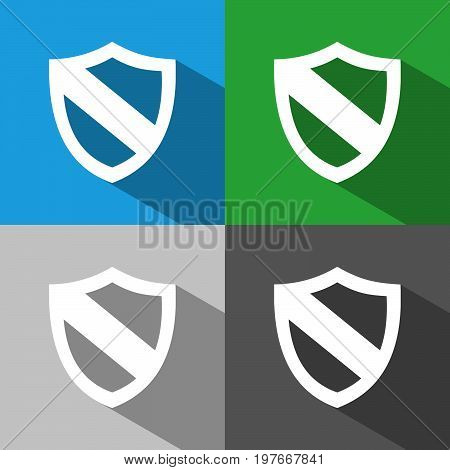 Protection shield icon with shade on colored backgrounds