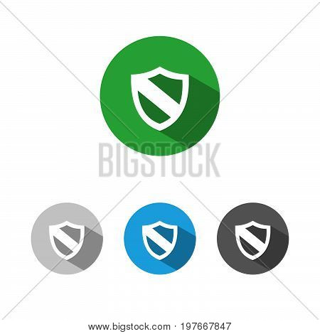 Protection shield icon with shade on colored buttons
