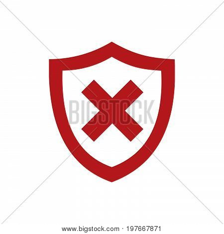 Red unprotected shield icon on a white background