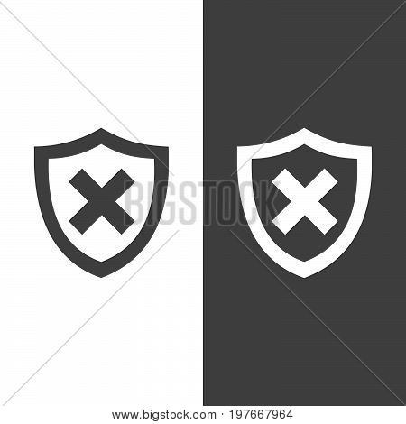 Unprotected shield icon on black and white background