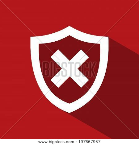 Unprotected shield icon with shade on a red background