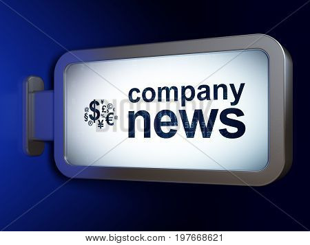News concept: Company News and Finance Symbol on advertising billboard background, 3D rendering