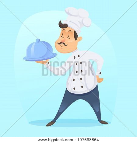 Vector - Illustration of proud funny cartoon cook chef with silver serving tray