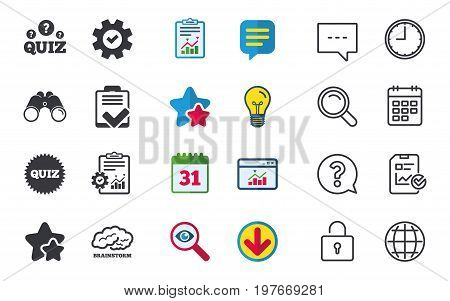 Quiz icons. Brainstorm or human think. Checklist symbol. Survey poll or questionnaire feedback form. Questions and answers game sign. Chat, Report and Calendar signs. Vector