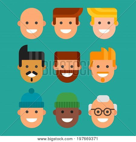 Men head portrait different nationality friendship character team happy people young guy person vector illustration. Handsome teamwork casual fashion friends.