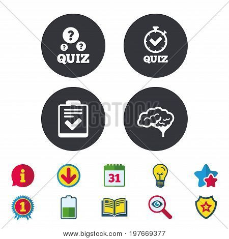Quiz icons. Human brain think. Checklist and stopwatch timer symbol. Survey poll or questionnaire feedback form sign. Calendar, Information and Download signs. Stars, Award and Book icons. Vector