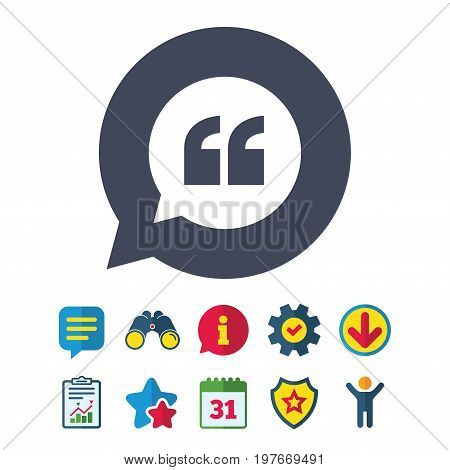 Quote sign icon. Quotation mark in speech bubble symbol. Double quotes. Information, Report and Speech bubble signs. Binoculars, Service and Download, Stars icons. Vector