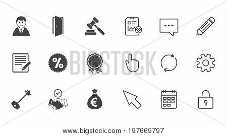 Real estate, auction icons. Home key, discount and door signs. Business agent, award medal symbols. Chat, Report and Calendar line signs. Service, Pencil and Locker icons. Click, Rotation and Cursor