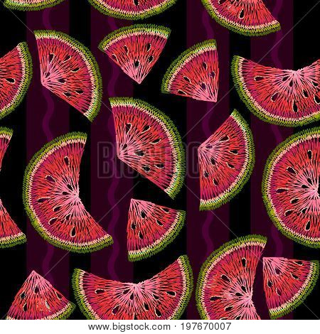 Water melons embroidery seamless pattern. Hand drawing fruits watermelons embroidery seamless background