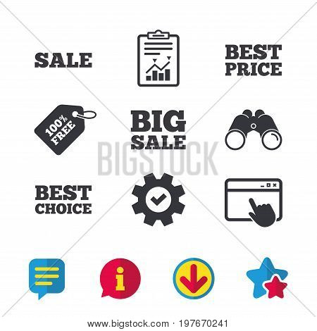 Sale icons. Best choice and price symbols. Big sale shopping sign. Browser window, Report and Service signs. Binoculars, Information and Download icons. Stars and Chat. Vector