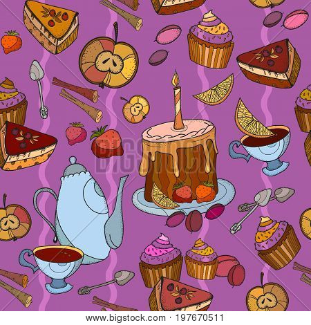 Tea party vintage hand drawn seamless background. Time for tea vector Tea and sweets cupcakes seamless pattern