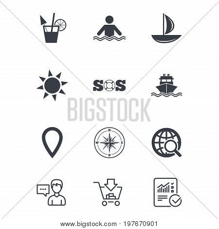 Cruise trip, ship and yacht icons. Travel, cocktail and sun signs. Sos, windrose compass and swimming symbols. Customer service, Shopping cart and Report line signs. Online shopping and Statistics
