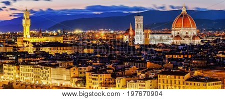 Florence Cathedral scenic view at night from Piazzale Michelangelo in Florence, Italy