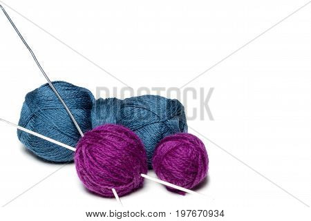 Purple and Blue. Teal Yarn with Crochet Hook