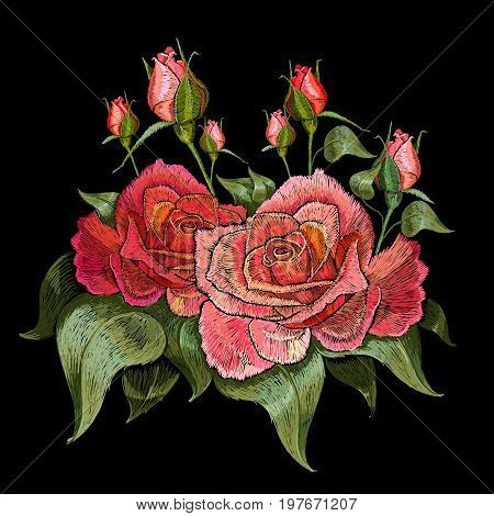 Red roses embroidery. Beautiful buds of red roses classical embroidery on black background. Template for clothes textiles t-shirt design