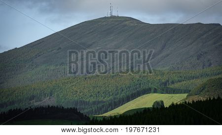 Long shot of Santa Barbara mountain peak in Terceira, Azores