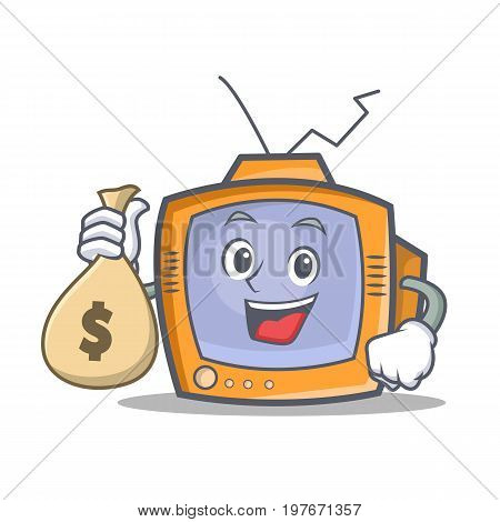 TV character cartoon object with money bag vector illustration