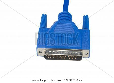 blue connector for computer on white background