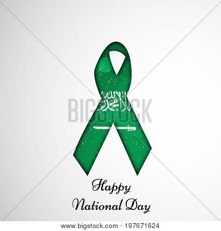 illustration of ribbon in Saudi Arabia flag background with Happy National Day text on the occasion of Saudi Arabia National Day