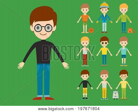 Group of young kid portrait friendship man character team happy people boy person vector illustration. Handsome teamwork casual fashion friends.