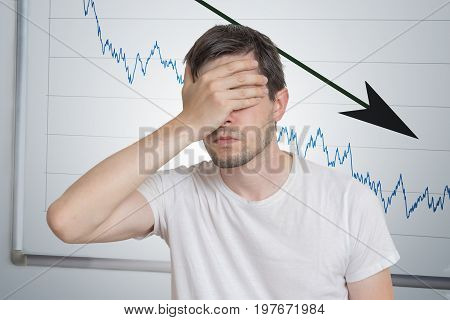 Bad Investment Or Economic Crisis Concept. Man Is Disappointed F