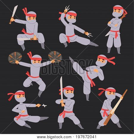 Different poses of ninja fighter in cloth character warrior sword martial weapon japanese man and karate cartoon person action mask kick vector illustration. Traditional combat asia man.