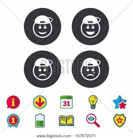 Rapper smile face icons. Happy, sad, cry signs. Happy smiley chat symbol. Sadness depression and crying signs. Calendar, Information and Download signs. Stars, Award and Book icons. Vector