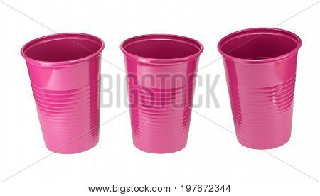 Lilac plastic cup isolated on white background