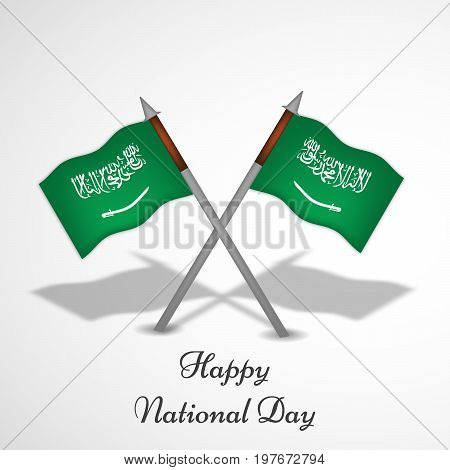 illustration of Saudi Arabia flags with Happy National Day text on the occasion of Saudi Arabia National Day