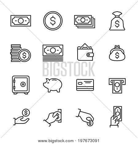 Set of 16 money thin line icons. High quality pictograms of finance. Modern outline style icons collection. Wallet, business, ATM, card, paymant, investment, currency, etc.